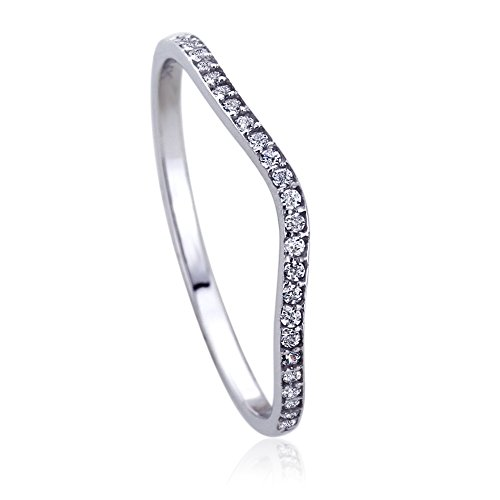 14K White Gold Round CZ Curved Tracer Wedding Anniversary Ring, (Curved Womens Wedding Ring)