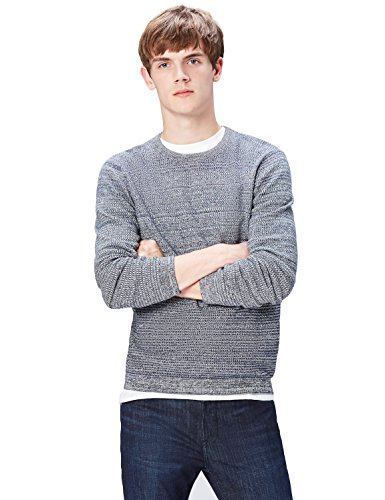 find. Men's Sweater with Ombre Cotton Knit, Blue (Navy), -
