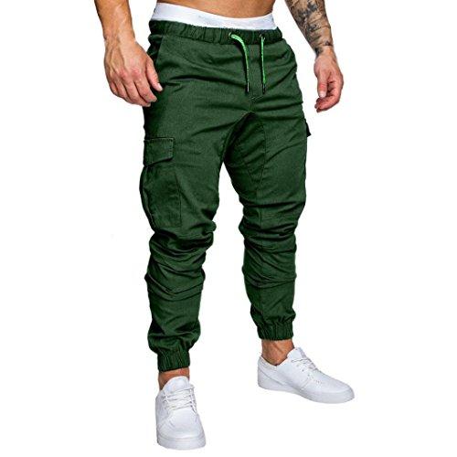 Men's Pants AnkolaMen Sweatpants Slacks Casual Elastic Joggings Sport Solid Baggy Pockets Trousers (L, Green) by Ankola-Women Pants