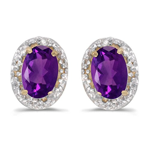 - 14k Yellow Gold Studs Genuine Purple Birthstone Oval Amethyst And Diamond Earrings (0.68 Cttw.)