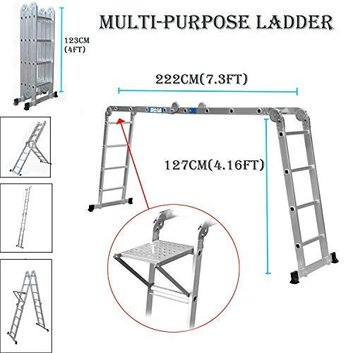 Autobaba Multi-Function Ladder 4.7m 15.5ft Multi-Purpose Folding Aluminium Ladder Extendable Step Ladder with 1 Tool Tray Heavy Duty 150Kg Load Capacity, 4x4