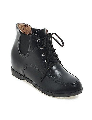 XZZ/ Damenschuhe-Stiefel-Büro / Kleid / Lässig-Kunstleder-Niedriger Absatz-Armeestiefel / Rundeschuh / Modische Stiefel-Schwarz / Bronze / almond-us5.5 / eu36 / uk3.5 / cn35
