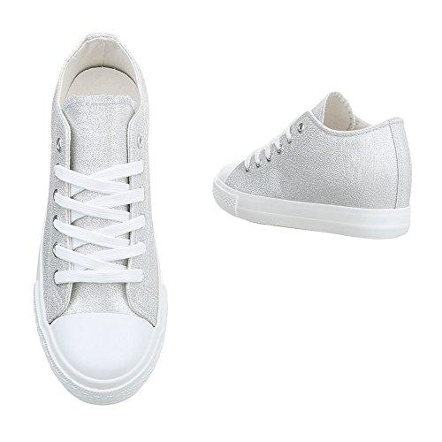 Ital-Design Sneakers High Damenschuhe High-Top Keilabsatz/Wedge Sneakers Schnürsenkel Freizeitschuhe Silber