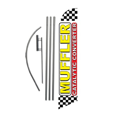 Muffler Catalytic Converter 15ft Feather Banner Swooper Flag Kit - INCLUDES 15FT POLE KIT w/GROUND SPIKE