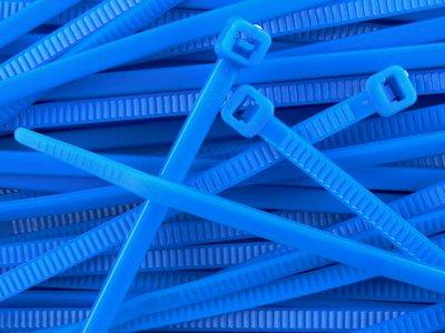 8 Inch Fluorescent Blue Standard Nylon Zip Tie - 100 Pack