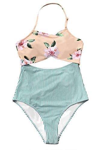 CUPSHE Women's Pink Floral and Green Back Tie Striped One Piece Swimsuit Large