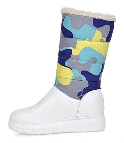 Chfso Kvinna Vinter Trendig Rund Tå Färgfuskpäls Fodrade Mitten Manschetten Mitten Kilklack Boots Blue