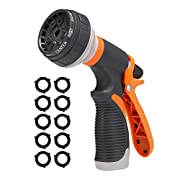 #LightningDeal PATHONOR Water Hose Nozzle, Hose Spray Nozzle Garden Hose Nozzle Heavy Duty high Pressure with 8 Adjustable Watering Spray Patterns for Watering Garden, Cleaning, Washing Cars, Showering Pets