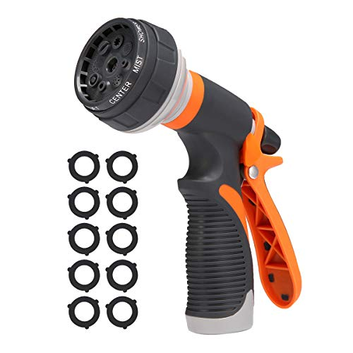 PATHONOR Garden Hose Nozzle, Water Hose Nozzle Metal Watering Spray Nozzle Heavy Duty High Pressure Water Gun with 8 Adjustable Watering Patterns for Watering Lawn and Garden, Washing Dogs & Pets.
