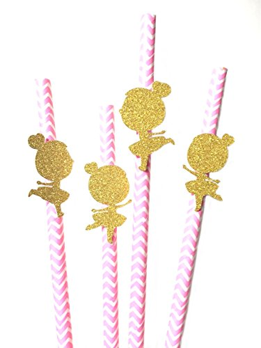 12 pcs cute ballerina toddler girl pink and gold theme chevron paper straws first birthday baby -