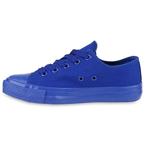 Stiefelparadies Kinder Sneakers Sportschuhe Denim Stoffschuhe Schnürer Sneaker Low Schuhe Turnschuhe Flandell Blau Blau
