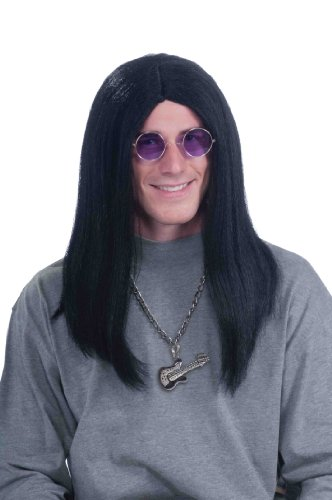 Forum Novelties Men's 80's Super Rocker Ozzy Costume Wig, Black, One Size]()