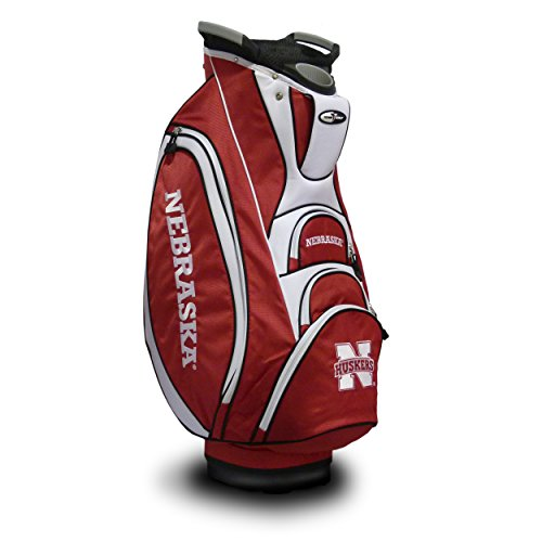 Team Golf NCAA Nebraska Cornhuskers Victory Golf Cart Bag, 10-way Top with Integrated Dual Handle & External Putter Well, Cooler Pocket, Padded Strap, Umbrella Holder & Removable Rain Hood