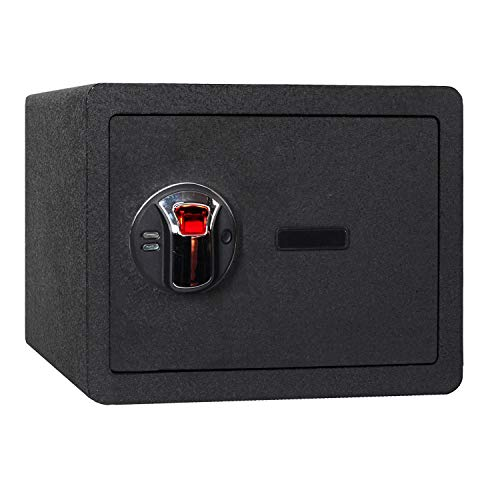 Jolitac Biometric Fingerprint Security Safe Box Smart Quick, Gun Safes for Pistols, Lock Box Cabinets, Solid Steel Safe Strongbox for Money, Jewelry, Cash Boxes, w/Deadbolt Lock (0.77 Cubic Feet)