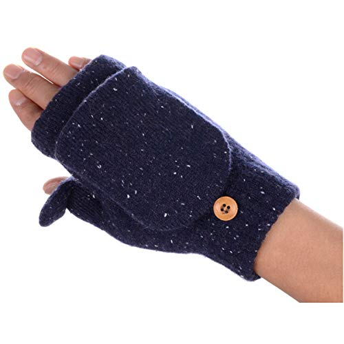 Cozy Fleece Lined Convertible Fingerless Knit Mittens Gloves ()