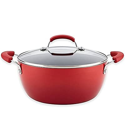 Porcelain Nonstick 5.5 qt. Covered Casserole in Gradient Red