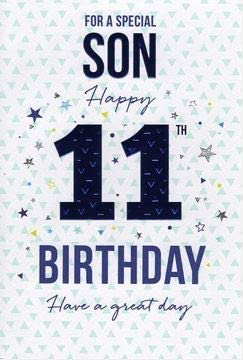 Incredible To A Special Son On Your 11Th Birthday Card 7327Cg Amazon Co Uk Personalised Birthday Cards Paralily Jamesorg
