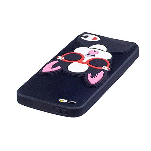 iPhone 5 5S SE Hülle , Leiai 3D Brille Katze Leicht TPU Weich Tasche Schutzhülle Silikon Etui Handyhülle Stoßdämpfende Schale Fall Case Shell für Apple iPhone 5 5S SE