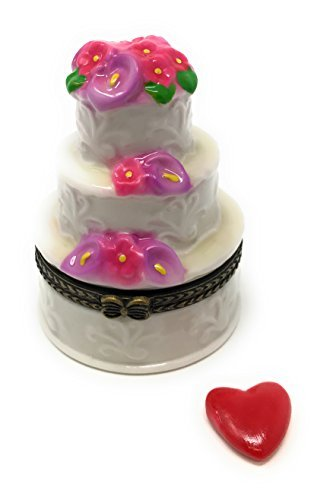 Porcelain 3 Layers Wedding Cake Trinket Box with Tiny Trinket Inside, 2.5 Inches (Porcelain Favor Box)