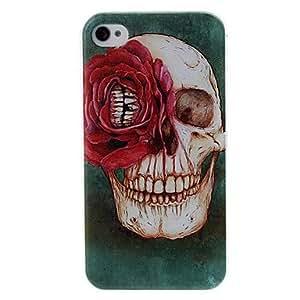 HOR Cráneo y estuche rígido de plástico patrón de flor para el iphone 4/4s