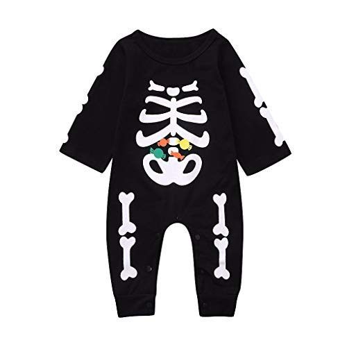 Newborn Skeleton Romper Jumpsuit,Crytech Novelty Cotton Long Sleeve Skull Bone Print Onesie One Piece Halloween Costume One Piece Bodysuit Clothing for Infant Baby Girl Boys (12-18 Months, W/O Hat)