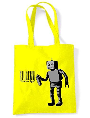 Tote Bag Yellow Banksy Barcode Robot Shopping Barcode Robot Banksy nUnwORzqa