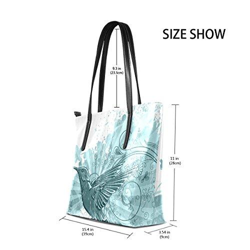 COOSUN Vintage Floral Hintergrund mit Hummingbird PU Leder Schultertasche Handtasche und Handtaschen Tasche für Frauen
