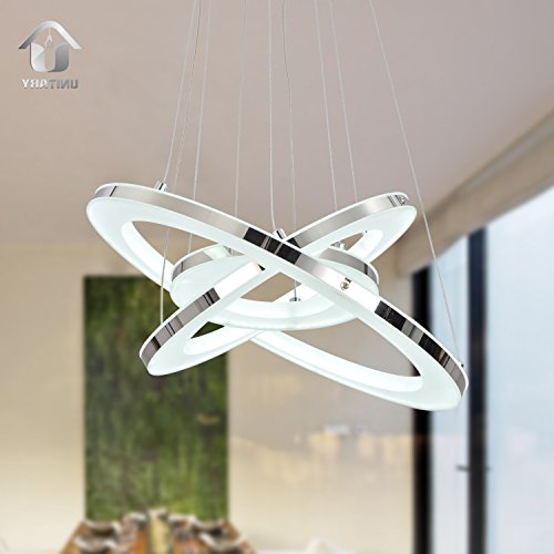 UNITARY BRAND Modern Nature White LED Acrylic Pendant Light With 3 Rings Max 33W Chrome Finish - Contemporary Lighting Fixture Modern Hanging