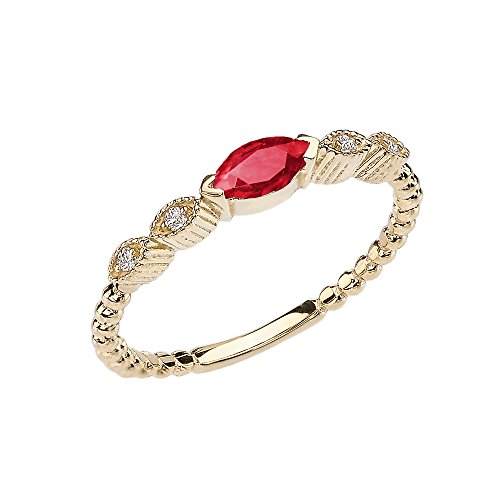 Modern Contemporary Rings 10k Yellow Gold Marquise Cut Engagement/Proposal Diamond Ring with Genuine Ruby Center Stone (Size 7.5)