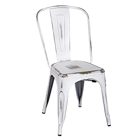 Homebeez Metal Antique Dining Chairs with Back Industrial Chic Set of 2 (ANTIQUE WHITE) (White Bistro Dining Table)