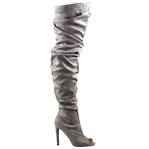 Coscia Alta Attrezzato Moda Ciondolare Stivali Toe Grigio Stiletto Vestito Peep Donna 0wfOq