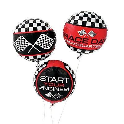 Fun Express Racing Print Mylar Balloons   3-Piece Set   Great for Race-Themed Parties
