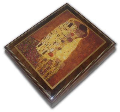 Abstract Romantic Couple Theme Inlaid Ercolano Music Box with 18 Note Tune-Lovely Hula Hands - SWISS