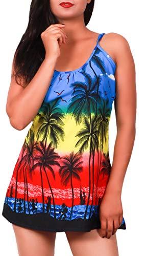 Virgin Crafts Women's Sleeveless Summer Hawaiian Print Spaghetti Strappy Tank Tops -