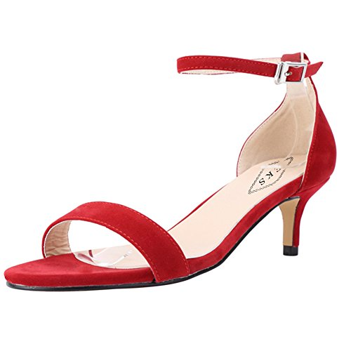 EKS Summer Shoes Woman Thin Heels Fashion Ladies Shoes Sandals Ankle Strap Metal Buckle Red-Suede HXWH0