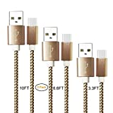 USB Type C Cable,YOFUNTLE 3 Pack (3.3FT 6.6FT 10FT) USB C Cable Nylon Braided Long Cord USB Type A to C Fast Charger for Samsung Galaxy S9 S8 Note 8,Apple New MacBook, Nexus 6P 5X (Gold)