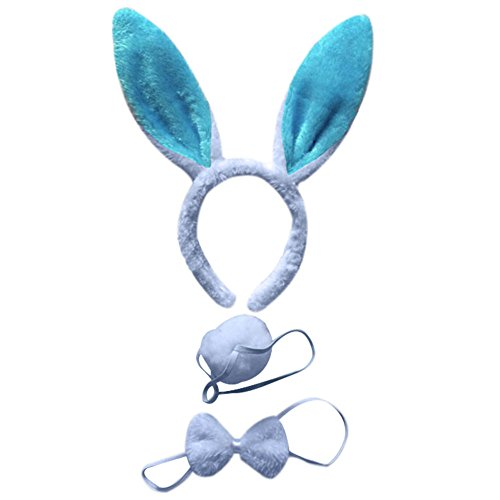 Mwfus 3pcs Long Rabbit Ears Halloween Costume Bunny Headband Bowtie Tail Accessories -