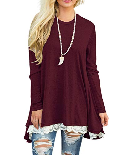 Sanifer Women Lace Long Sleeve Tunic Top Blouse (Small, Wine Red)