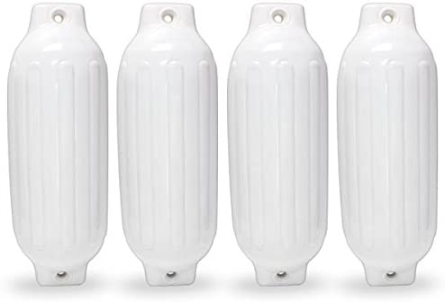 """4 NEW RIBBED BOAT FENDERS 8.5/"""" x 27/"""" WHITE TWIN EYE BUMPERS MOORING PROTECTION"""