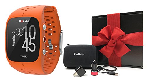 Polar M430 (Orange) Running Watch GIFT BOX Bundle | Includes Advanced GPS Running Watch/Activity Tracker with Optical Wrist-HR, PlayBetter USB Car/Wall Adapter, Protective Case | Black Gift Box
