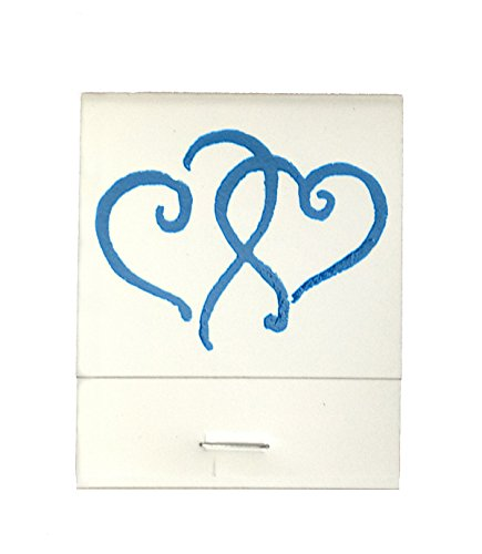 50 White Matches Printed Hearts in Light Blue Matchbooks Wedding, Anniversary, Birthday, Party, Your Choice of Color of Print]()