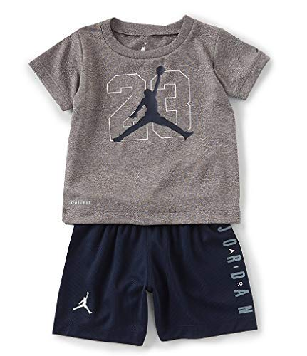 Jordan Air Boy`s T-Shirt and Shorts 2 Piece Set (Carbon Heather(755945-695)/Obsidian, ()