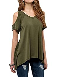 YesFashion Women's Vogue Shoulder Off Wide Hem Design Top Shirt