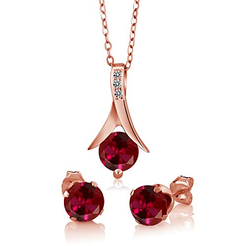 Gem Stone King 3.05 Ct Red Created Ruby White Diamond 18K Rose Gold Plated Silver Jewelry Set