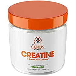 Genius Creatine Powder, Post Workout Supplement For Men and Women with Creapure Monohydrate, Hydrochloride Hcl MagnaPower and Carnosyn Beta-Alanine SR, Natural Lean Muscle Builder - Sour Apple, 188G