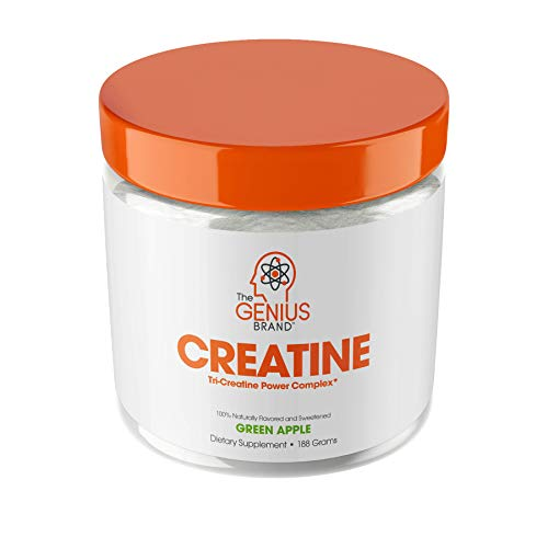 Genius Creatine Powder, Post Workout Supplement For Men and Women with Creapure Monohydrate, Hydrochloride (HCL) MagnaPower and Carnosyn Beta-Alanine SR, Natural Lean Muscle Builder - Sour Apple, 188G
