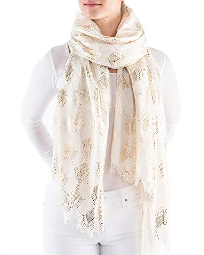 Printed Village Women's Metallic Scarves (Deco Burst - Ivory) ()