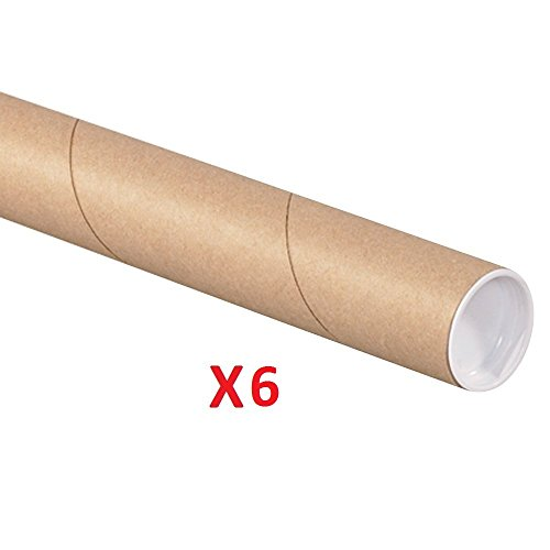 Mailing Tube with Cap, 2-Inch by 12-Inch (Pack of 6)