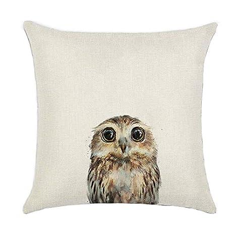 Amazon.com: Cute Animal Cushion Cover Owl Rabbit Bear Fox ...