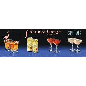 Culturenik Flamingo Lounge Drink Specials Vintage Alcohol Bar Advertising Decorative Art Print (Unfr